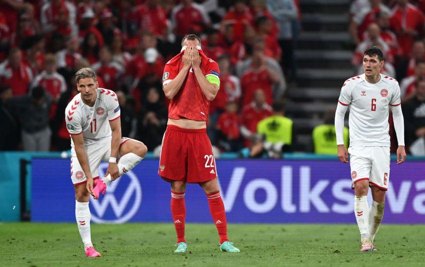Apărarea Rusiei a gafat incredibil în minutul 59 al disputei cu Danemarca, decisivă pentru calificarea în optimile de finală de la Euro 2020. Yussuf Poulsen (27 de ani) a profitat și a dus scorul la 2-0.