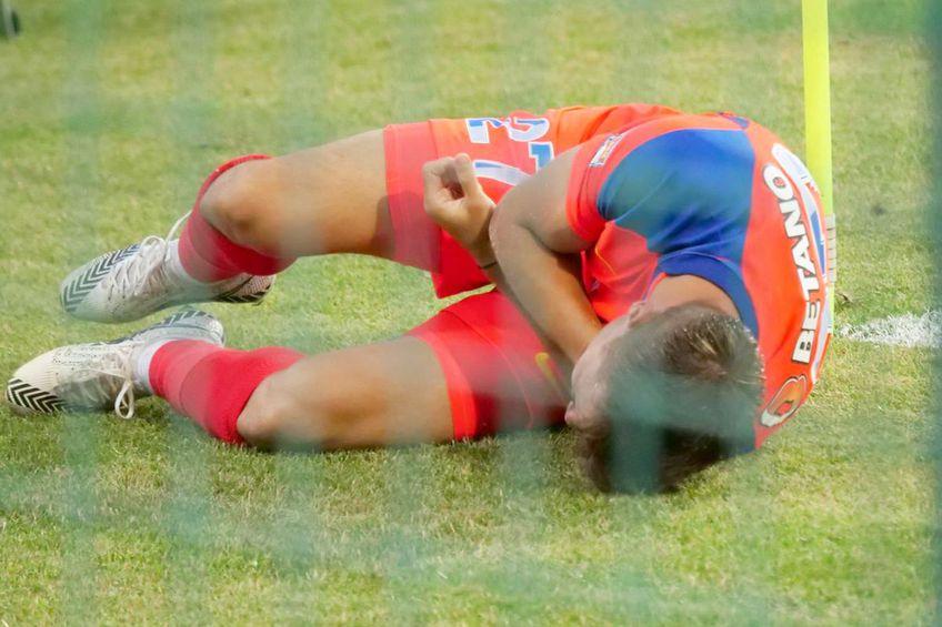 Darius Olaru, în durere în meciul dintre FC Buzău și FCSB