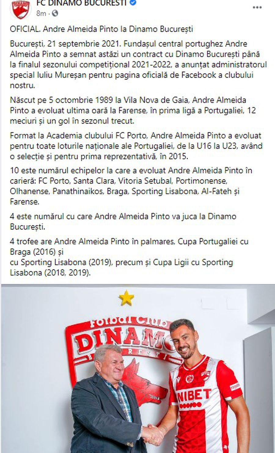 """Fotbalistul a semnat cu Dinamo! Mureșan anunță: """"Chiar acum sunt cu el la club"""""""