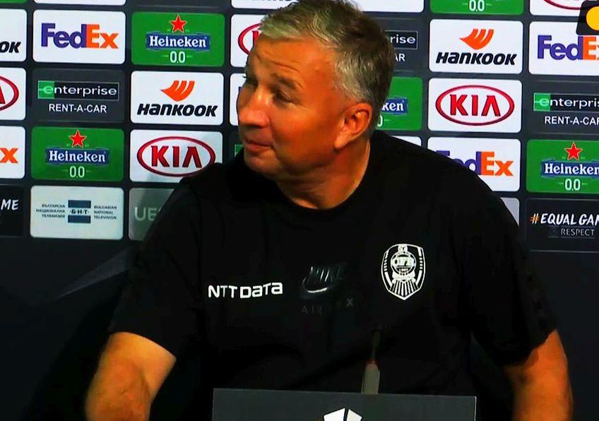 Dan Petrescu (52 de ani) a susținut astăzi conferința oficială de presă dinaintea duelului cu ȚSKA Sofia, primul din grupa de Europa League.