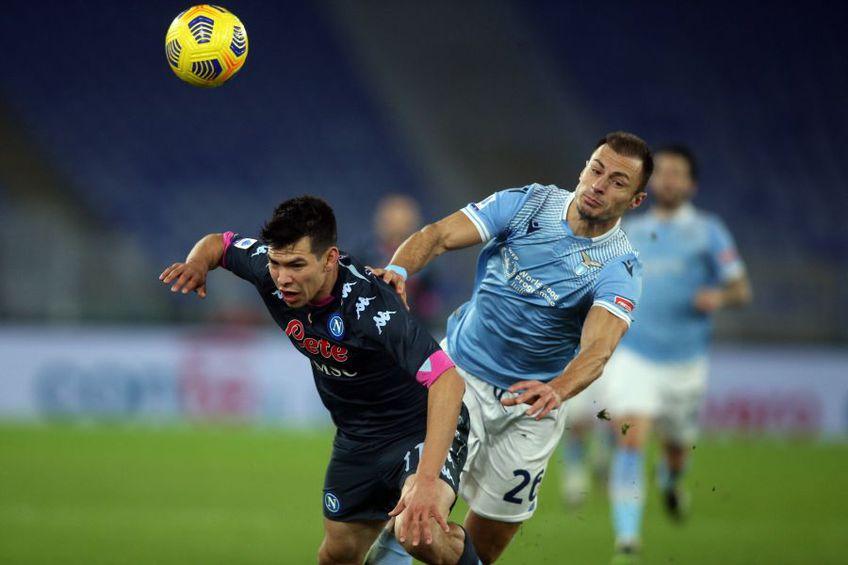 Ștefan Radu, fundașul lui Lazio, a alungat criticile recente cu o evoluție solidă în duelul cu Napoli, scor 2-0, închizând foarte bine zona în fața lui Lozano și a lui Politano. Foto: Imago