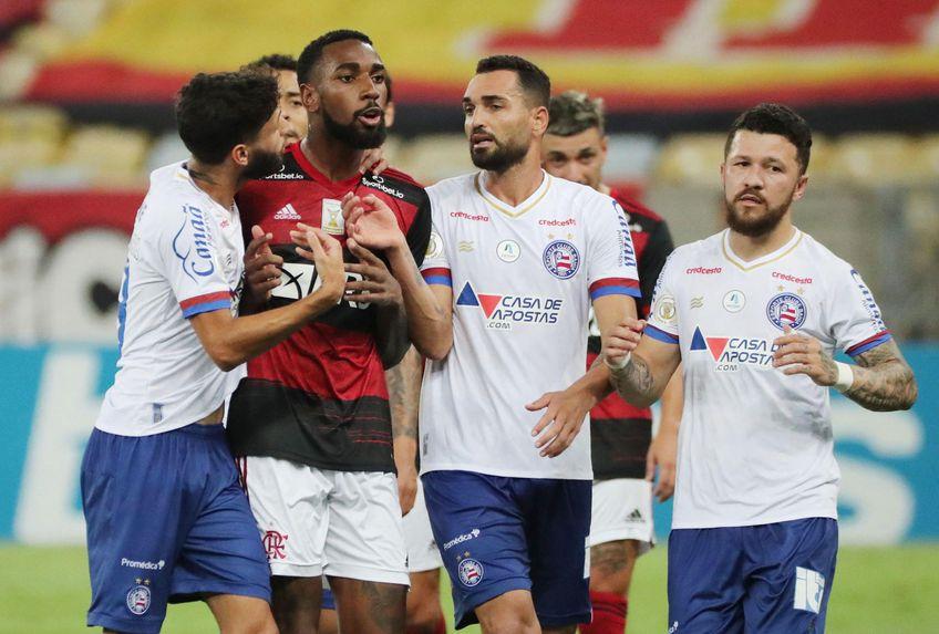 """Gerson, mijlocașul lui Flamengo, îl acuză pe columbianul Ramírez (Bahia). """"Nu voi închide gura, nu mă voi opri niciodată în lupta mea"""", a protestat fostul jucător al Romei. S-a deschis imediat o anchetă. Foto: Reuters"""