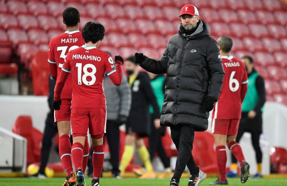 """Liverpool are cinci meciuri la rând fără victorie, patru fără gol marcat și, după patru ani, pierde prima oară acasă. Seria fără eșec pe """"Anfield"""" s-a terminat la numărul 68, după 0-1 cu Burnley."""
