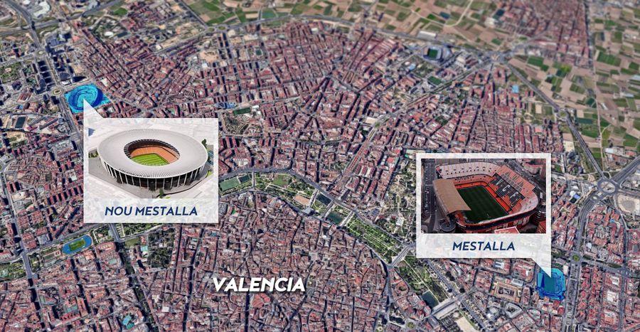 Distanța dintre vechiul și noul Mestalla
