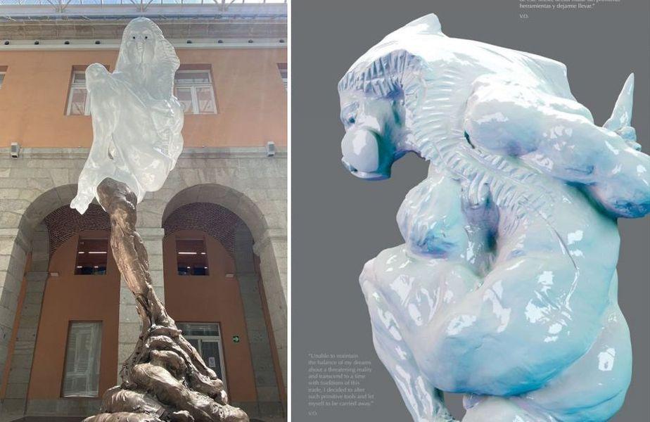 Versiunea finală, în stânga, vs. versiunea publicată în 2017 a sculpturii COVID-19 // sursă foto: Instagram @ vochoaescultor