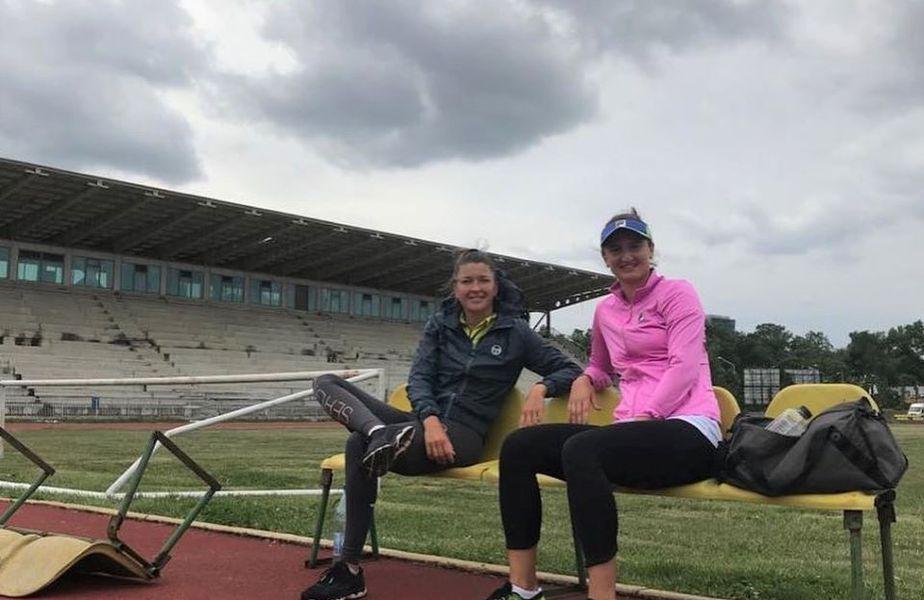 Alexandra Dulgheru și Irina Begu pe stadionul Tineretului, la pregătire