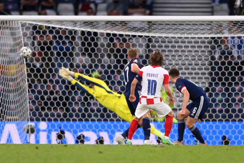 EURO 2020. În minutul 62 al meciului Croația - Scoția, la 1-1, Luka Modric (35 de ani) a reușit o superexecuție!