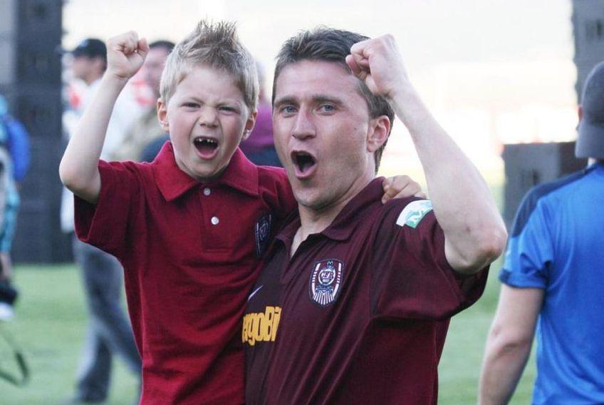 Alin Minteuan alături de fiul său, pe vremea când fostul secund al campioanei era jucătorul lui CFR