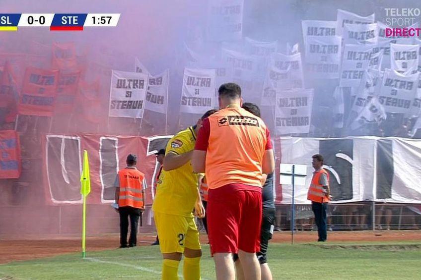 Ultrașii Stelei au avut propriile războaie pe durata meciului / Captură TV Telekom Sport