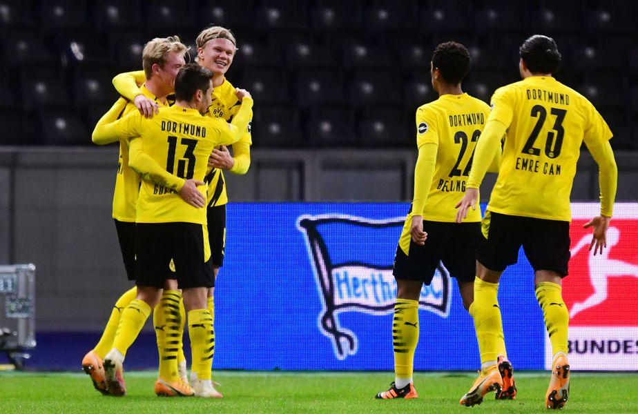"""Erling Haaland, 20 de ani, ales cel mai bun tânăr jucător în 2020, a marcat primul său """"poker"""" pentru Dortmund în Bundesliga, 5-2 cu Hertha Berlin. Și are cifre fantastice în acest an. Foto: Guliver/GettyImages"""