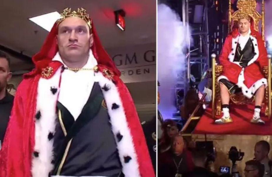 Tyson Fury adus pe un tron în ring, foto: sportbible.com