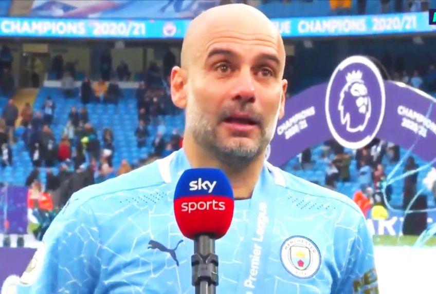 Pep Guardiola nu și-a putut stăpâni lacrimile la ultimul meci jucat de Sergio Aguero (32 de ani) pentru Manchester City, în Premier League, victoria 5-0 cu Everton.