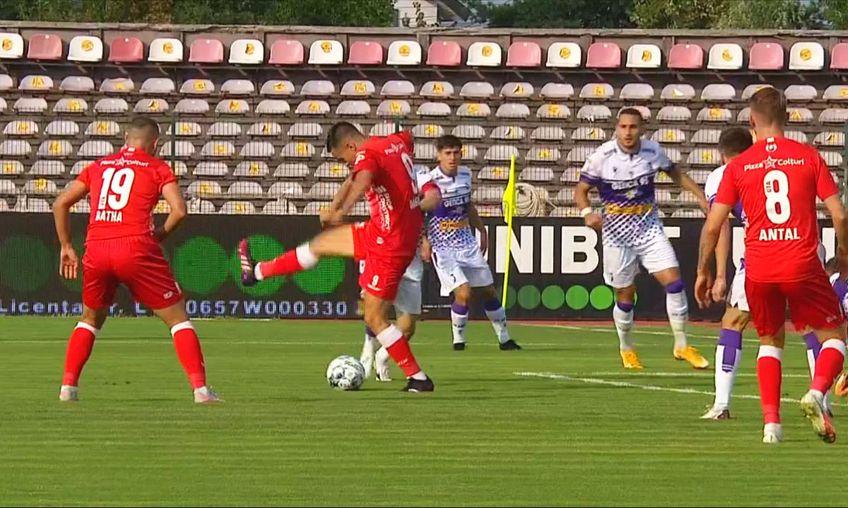 Filip Dangubic (26 de ani), croatul din atacul celor de la UTA, a marcat un gol spectaculos, cu călcâiul, în minutul 4 al partidei cu FC Argeș. FOTO: Captură @Telekomsport