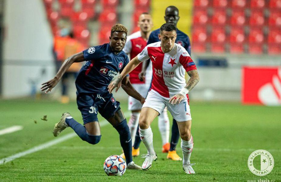 Nicolae Stanciu, în Slavia Praga - Midtjylland // foto: Facebook @ Slavia Praha