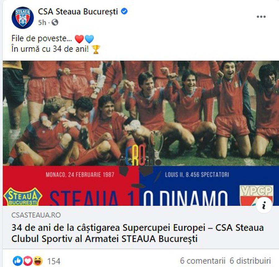 """FCSB se laudă pe Facebook cu Supercupa Europei cucerită de Steaua în urmă cu 34 de ani: """"O dată istorică pentru fotbalul românesc"""""""