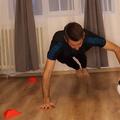 Ciprian Stoica în timpul unui exercițiu cu mingea