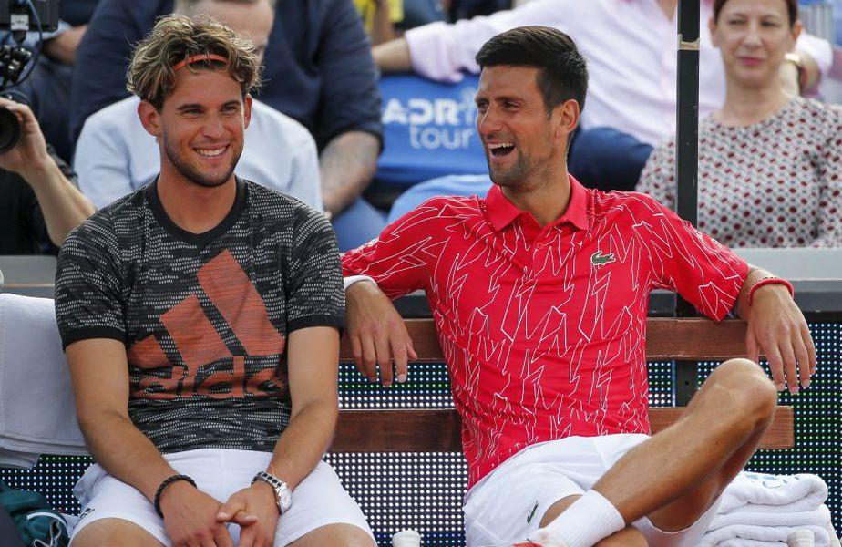 Novak Djokovic, alături de Dominic Thiem la Adria Tour. foto: Guliver/Getty Images