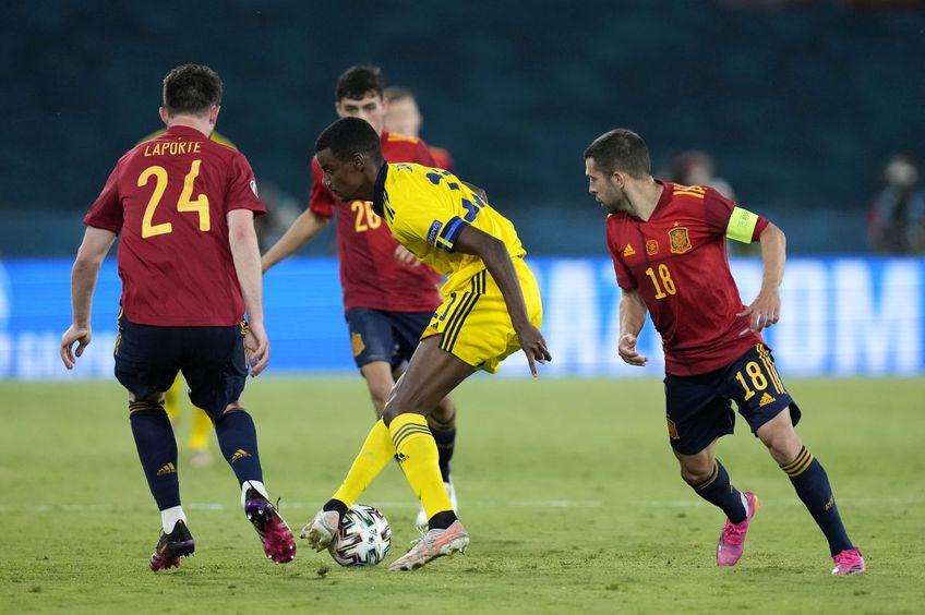 Alexander Isak, în acțiune contra Spaniei // foto: Guliver/gettyimages