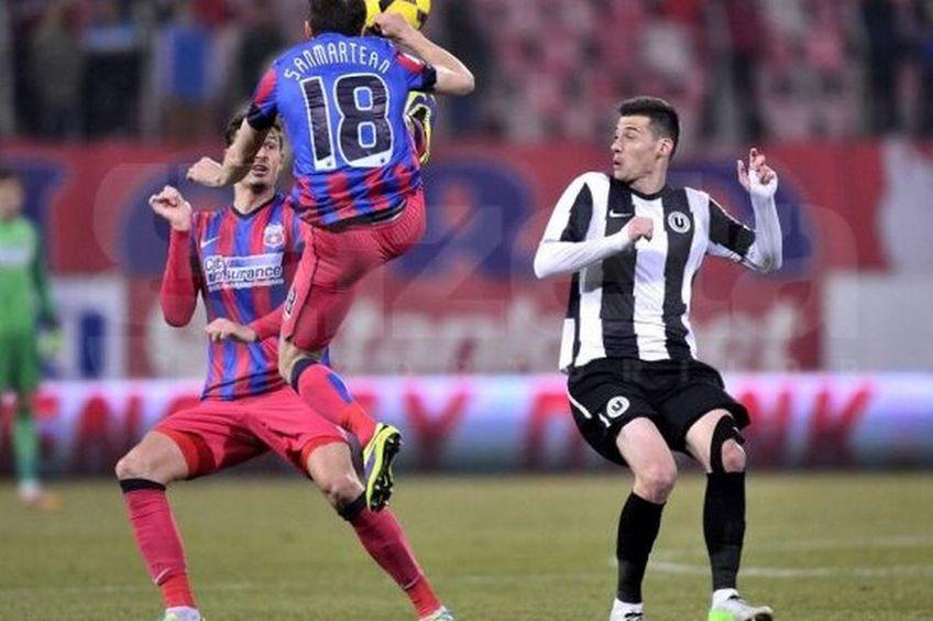 Valentin Lemnaru (dreapta), într-un meci FCSB - U Cluj