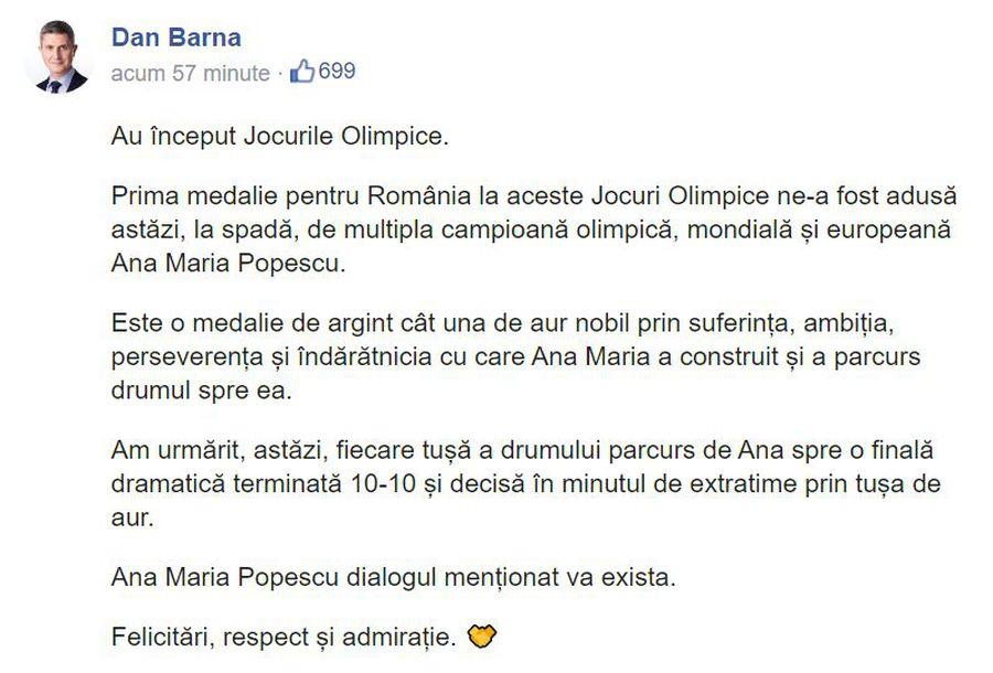 Dan Barna a comis-o din nou! Ce a scris după medalia obținută de Ana Maria Popescu la Jocurile Olimpice