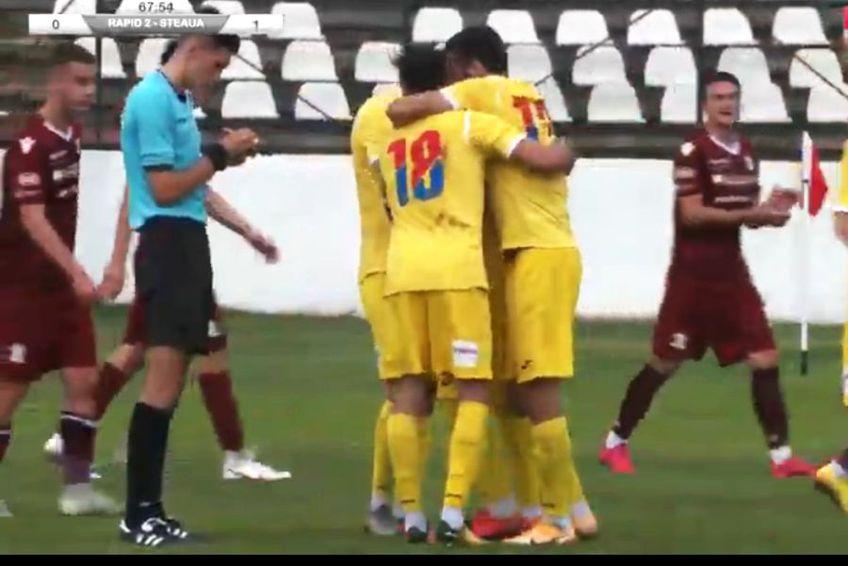 CSA Steaua s-a impus în derby-ul din Liga 3 cu Rapid II, scor 1-0 / Captură Steaua TV