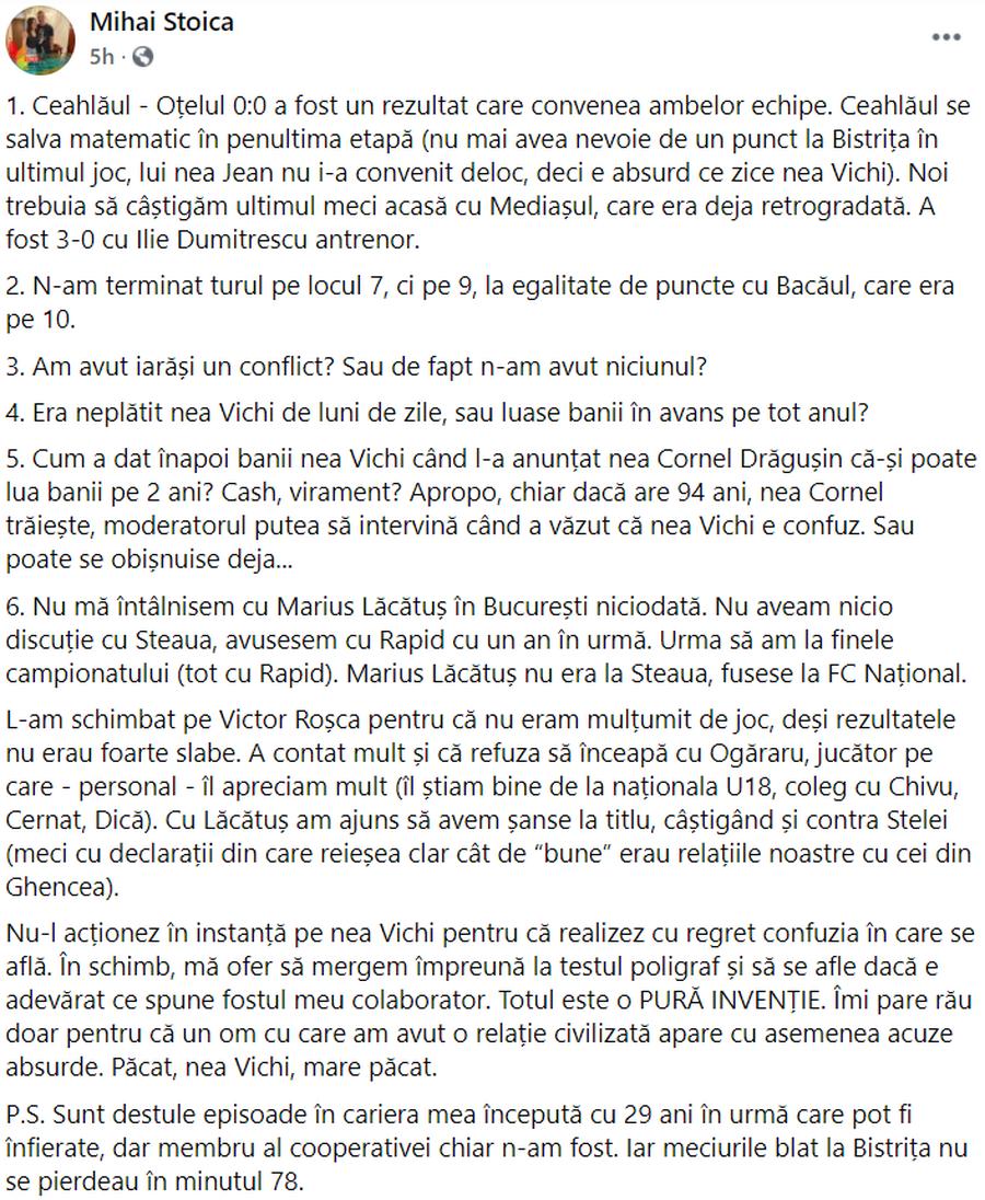 Captură Facebook Mihai Stoica