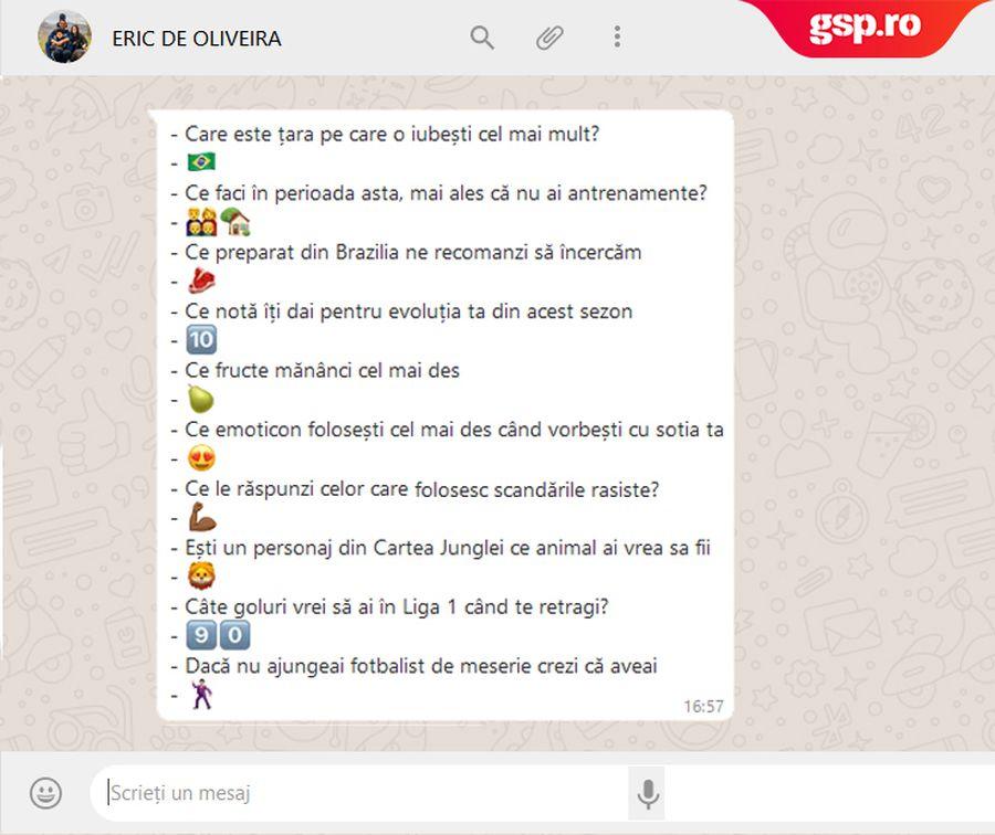 WhatsApp Q&A » Eric de Oliveira intră în provocarea GSP: cum răspunde cu un emoticon la întrebări și afirmații inedite