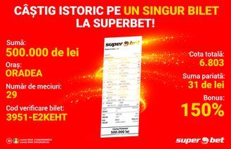 Un bihorean a bifat un nou record la Superbet: 500.000 de lei câștigați pe un singur bilet!