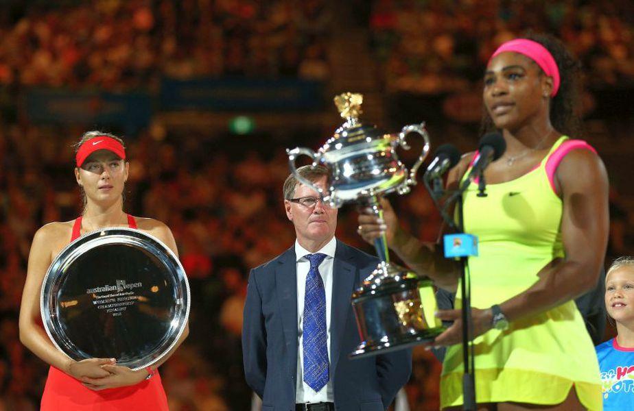 Maria Sharapova și Serena Williams, după finala de la Australian Open din 2015. foto: Guliver/Getty Images
