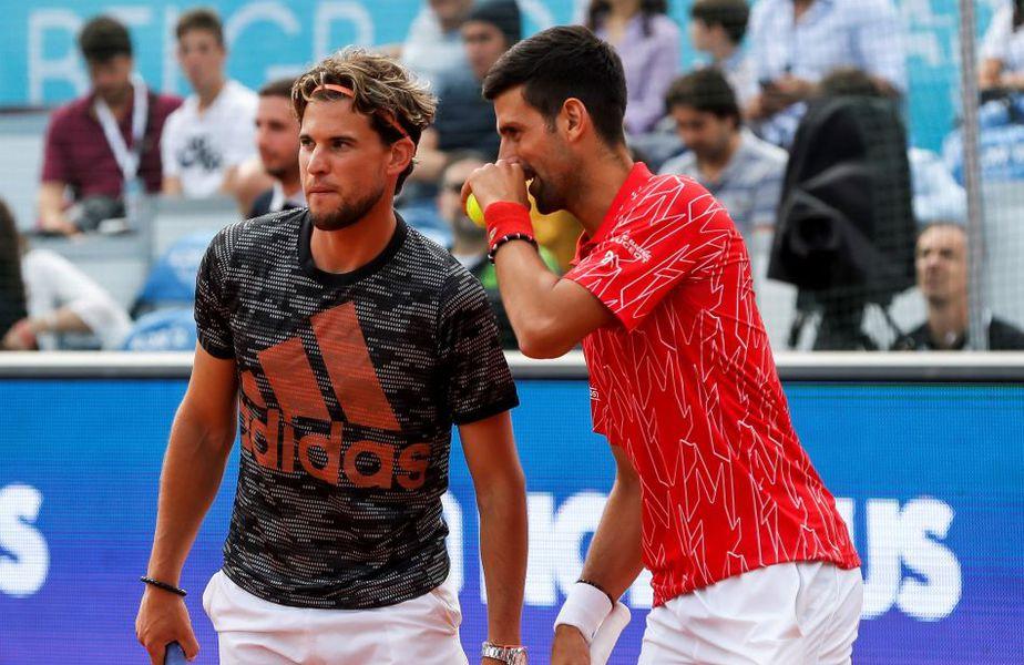 Dominic Thiem și Novak Djokovic au jucat dublu în deschiderea evenimentului de la Belgrad FOTO Guliver/GettyImages