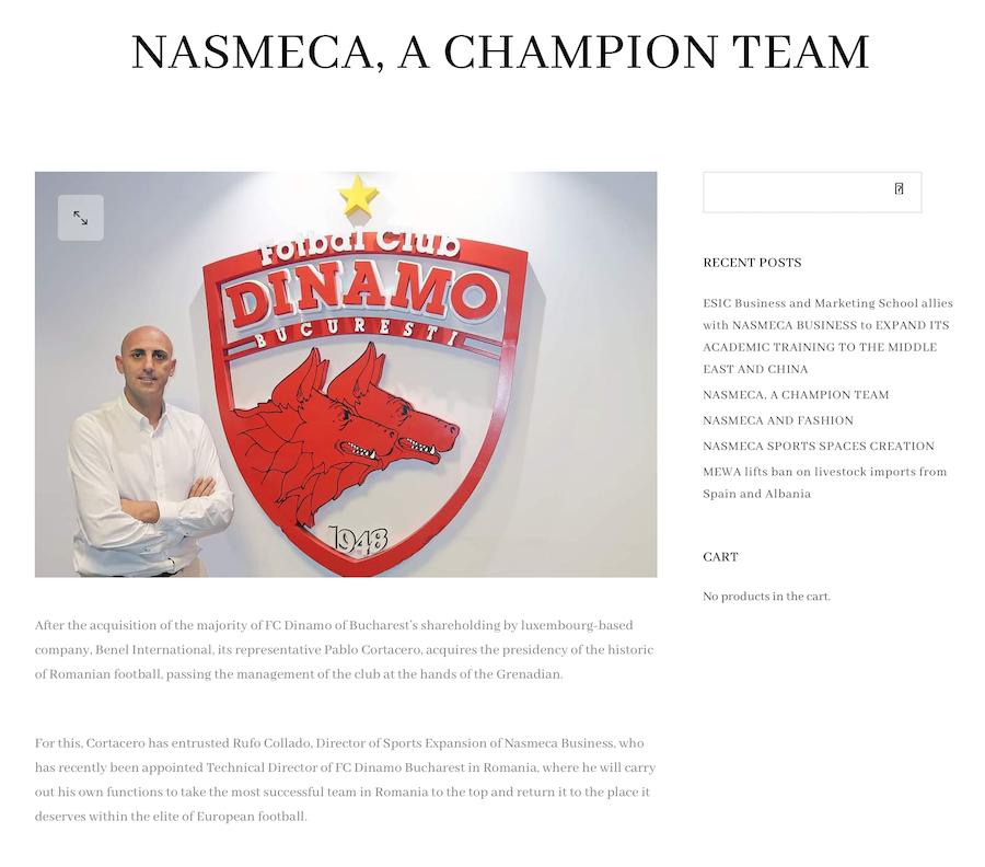 Anunț de pe site-ul companiei Nasmeca