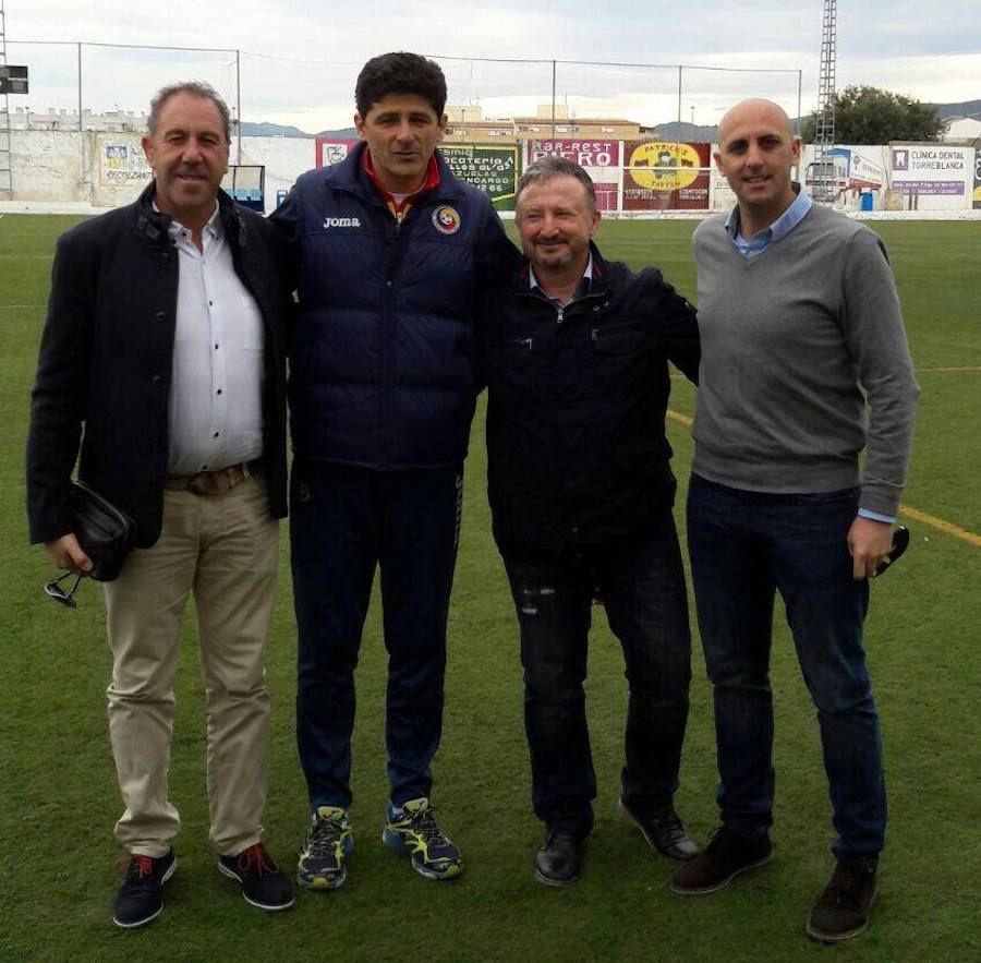 Tomas Rodriguez Diaz, actualul director adjunct al Academiei Dinamo, alături de Belodedici, Șocarici și Collado, la un trial organizat de FRF în Spania, în 2017