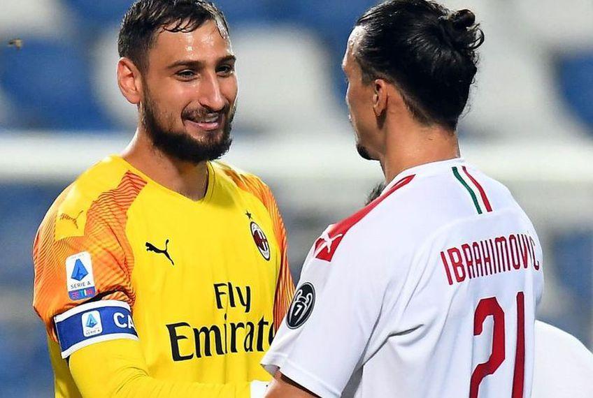 Zlatan Ibrahimovic și GianluigiDonnarumma au fost convinși să rămână la AC Milan // Sursă foto: Getty