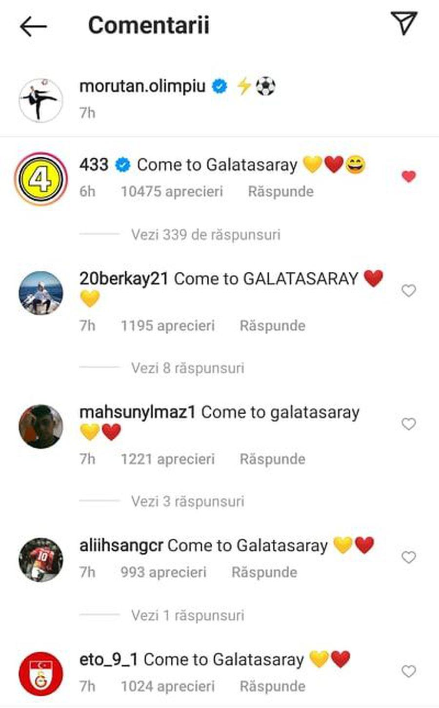 """""""Come to Galatasaray"""" » Olimpiu Moruțan, """"asaltat"""" de fanii Galatei în social media"""