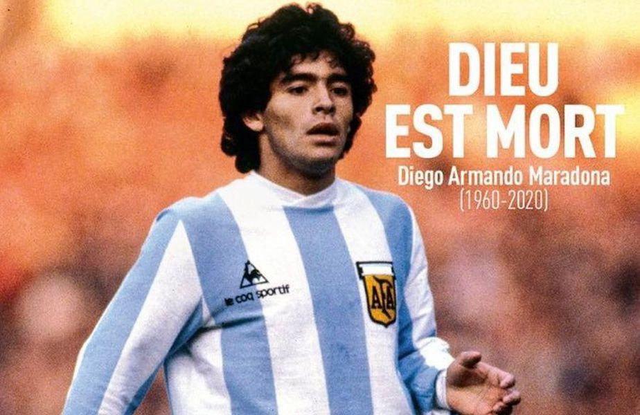 Coperta din L'Equipe, dedicată lui Diego Maradona