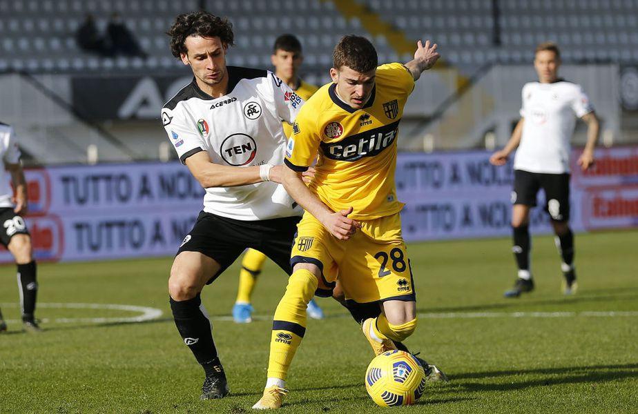Parma, formația lui Valentin Mihăilă (21 de ani) și a lui Dennis Man (22 de ani), a remizat în deplasarea de la Spezia, scor 2-2.