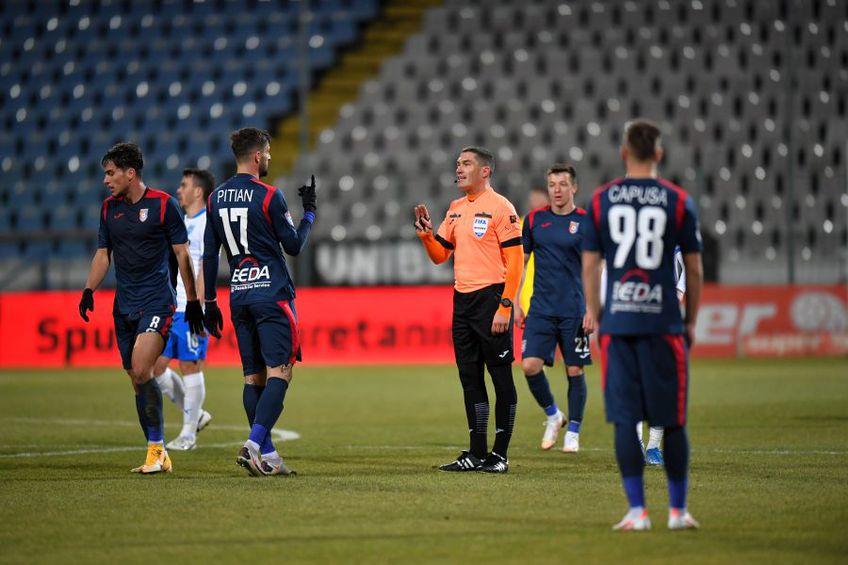 CS Universitatea Craiova a cerut două lovituri de la 11 metri în repriza secundă a partidei cu Chindia Târgoviște, la scorul de 0-0
