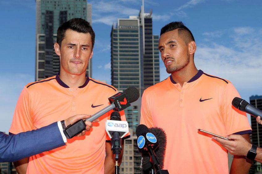 Bernard Tomic, în stânga, e unul dintre rebelii circuitului ATP. foto:Guliver/Getty Images