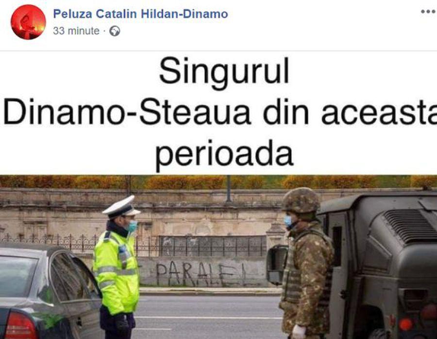 """CORONAVIRUS. Peluza Cătălin Hîldan, ironii pe Facebook: """"Ăsta e singurul Dinamo - Steaua din această perioadă"""""""