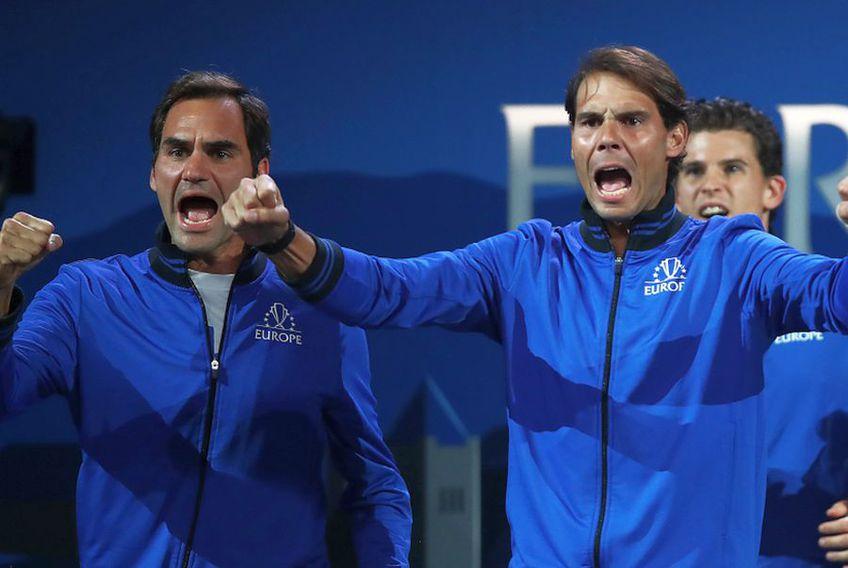 Rafael Nadal și Roger Federer s-au întâlnit ultima oară la un meci demonstrativ jucat în Africa. foto: Guliver/Getty Images