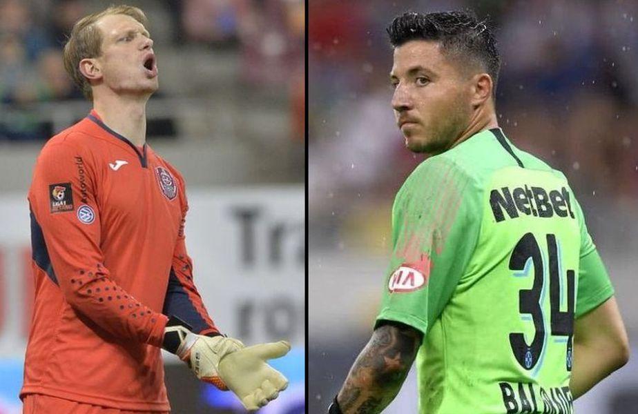 Giedrius Arlauskis (stânga) și Cristi Bălgrădean (dreapta) s-ar putea lupta pentru un loc de titular în poarta lui CFR Cluj sezonul viitor