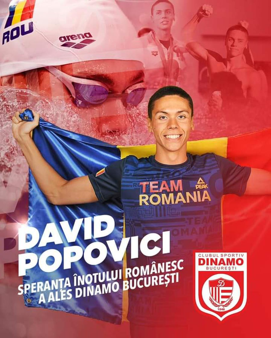 Transferul anului în sportul românesc! CSA Steaua îl pierde pe David Popovici, care a fost deja prezentat la Dinamo!
