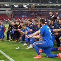 """Bucuria """"tricolorilor"""" după Ungaria - România // foto: captură @ FRF TV"""