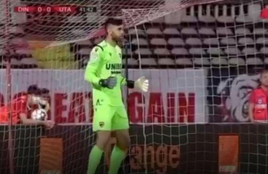 În timpul meciului dintre Dinamo și UTA, încheiat cu victoria arădenilor, 1-0, Look Sport, unul dintre posturile TV care a transmis meciul, a comis o gafă de zile mari. Captură @ Look Sport