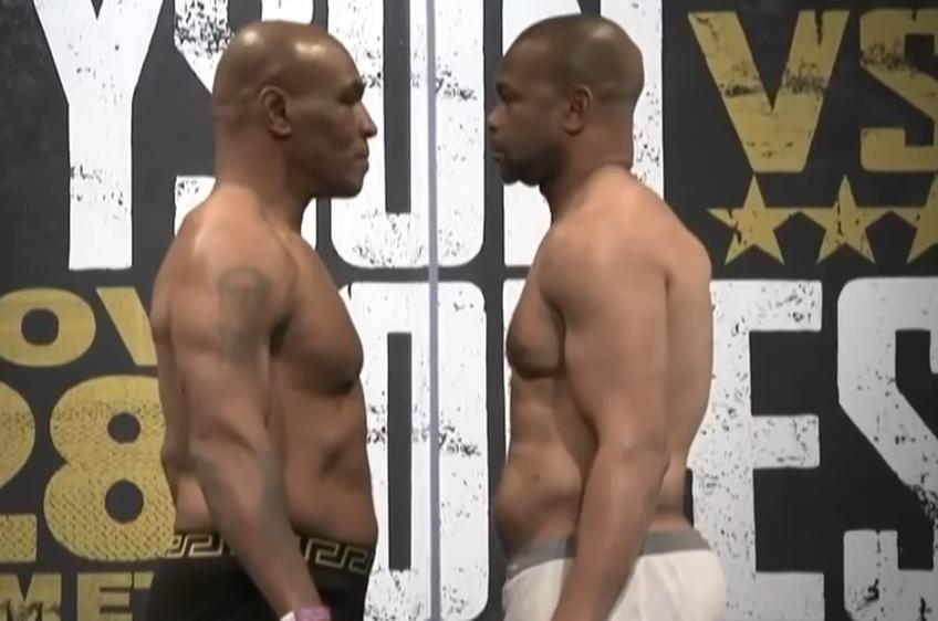 Mike Tyson, 54 de ani, și Roy Jones Jr., 51 de ani, s-au întâlnit față în față la cântărul oficial, cu o zi înaintea luptei din Los Angeles.