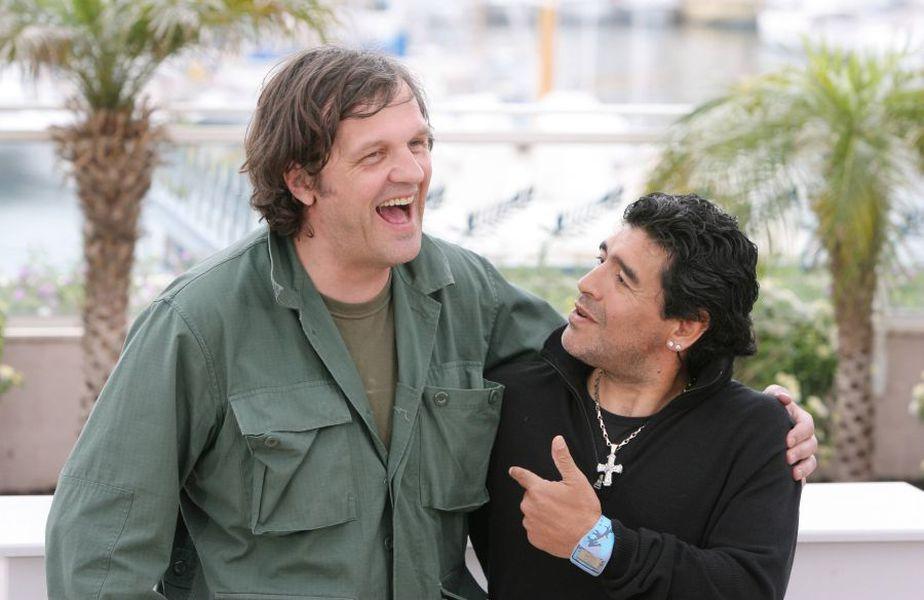 Emir Kusturica, alături de Diego Maradona, ]n 2008, la Cannes foto: Imago
