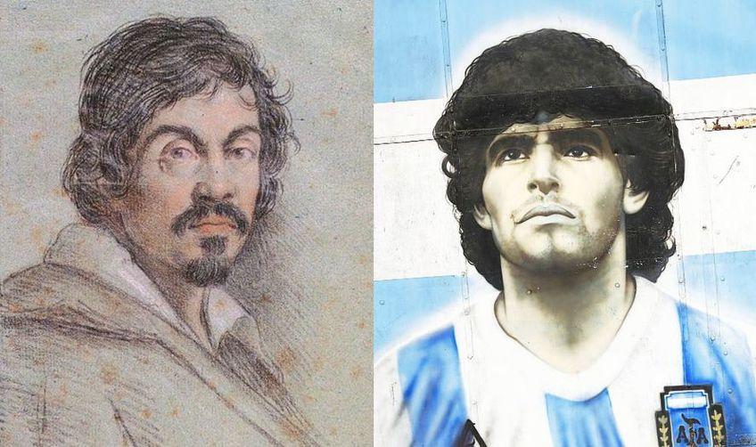 Caravaggio (stânga), Maradona (dreapta)