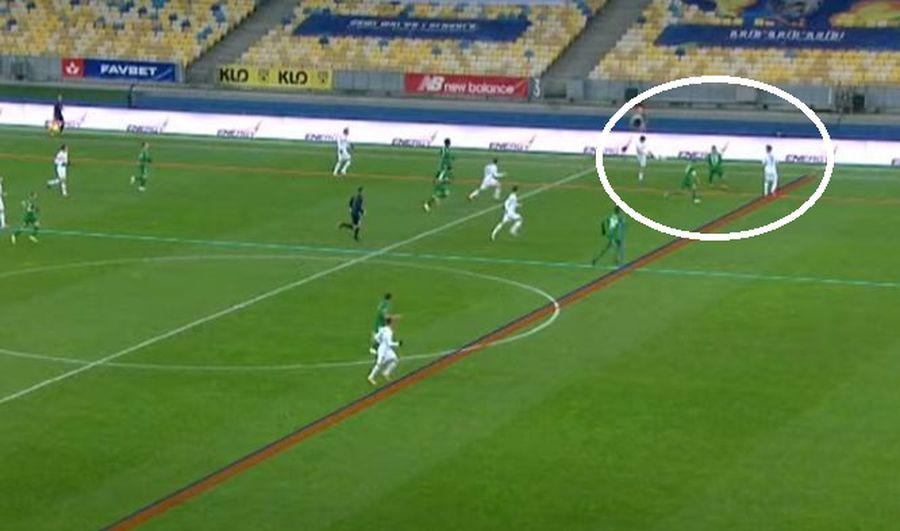 Golul lui De Pena a fost anulat pe motiv de ofsaid // foto: captură YouTube @ FC Dynamo Kyiv