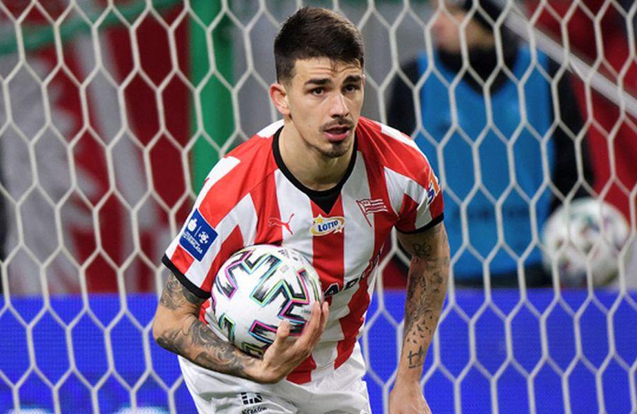 Sergiu Hanca, celebrând golul înscris contra Legiei // Sursă foto: Twitter Cracovia