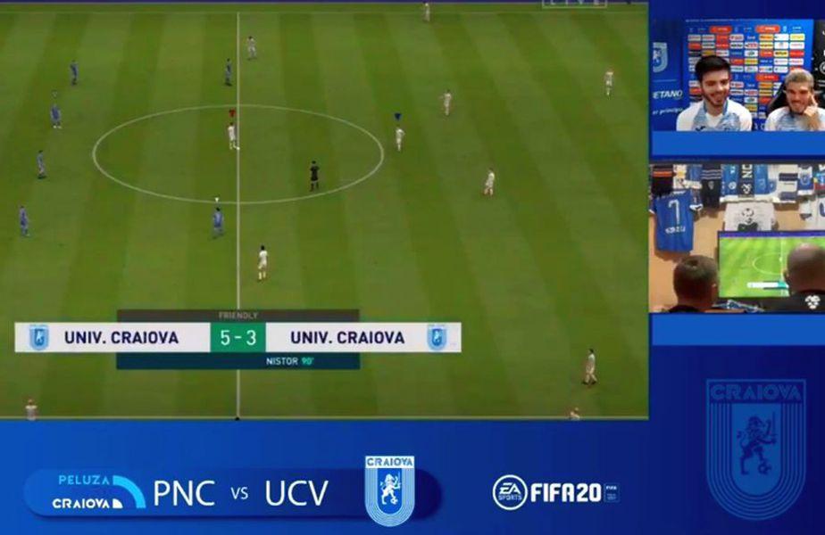 Meci de FIFA 20 între cei de la CSU Craiova și fanii din Peluza Nord / Sursă foto: Facebook Florin Jianu